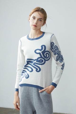 Graphic pattern thickened cashmere jumper