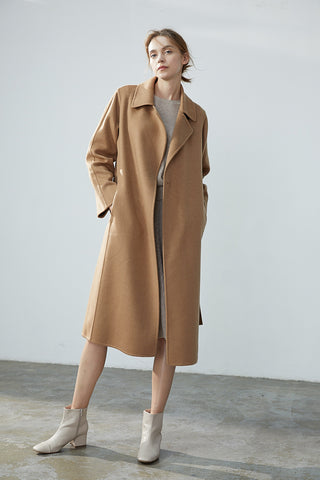 Women's hand-sewn pure cashmere double-face coat