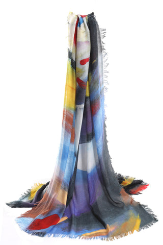 Moroccan paint cashmere scarf