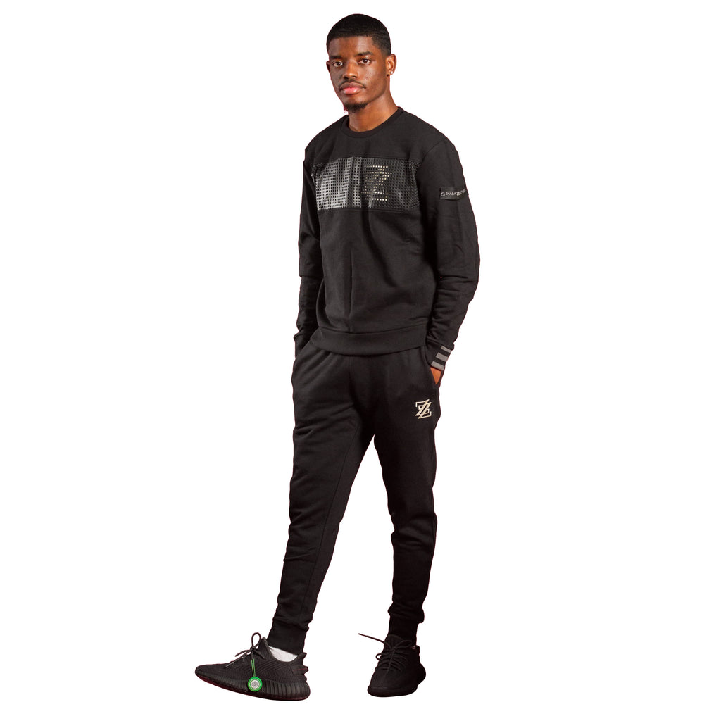 Black Euro Urban Crew & Jogger pants by Shabazz Brothers and Black Yeezy Boost 350 Sneakers