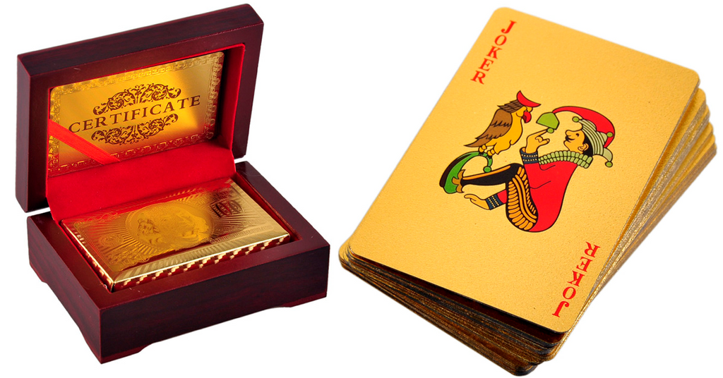24K Gold-Plated Playing Cards with Case - 99 SANTA