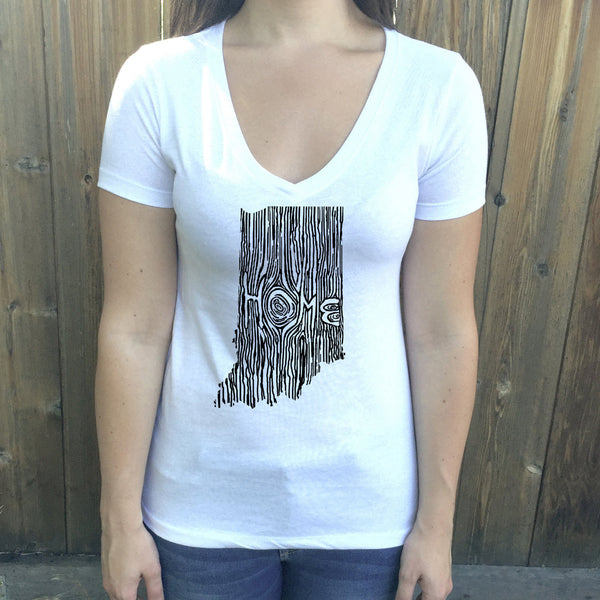 Indiana Ingrained State Women's V-Neck T Shirt
