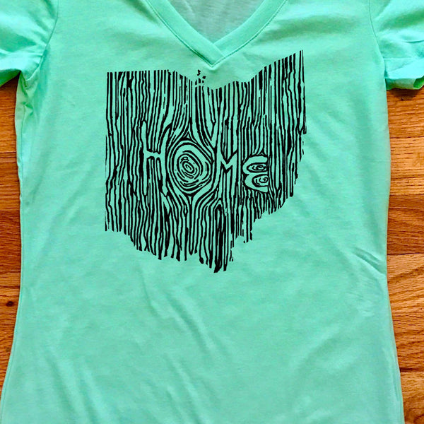 Ohio Ingrained State Women's V-Neck T Shirt