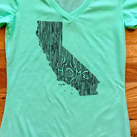California Ingrained State Women's V-Neck T Shirt