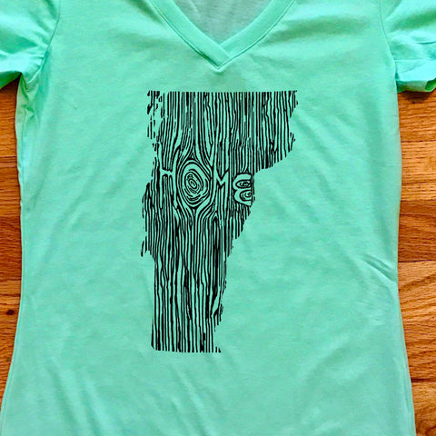 Vermont Ingrained State Women's V-Neck T Shirt