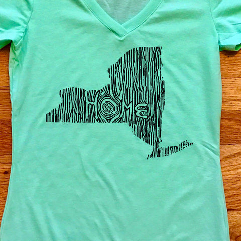 New York Ingrained State Women's V-Neck T Shirt