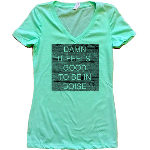 Damn It Feels Good To Be In Boise Idaho Women's V-Neck Shirt