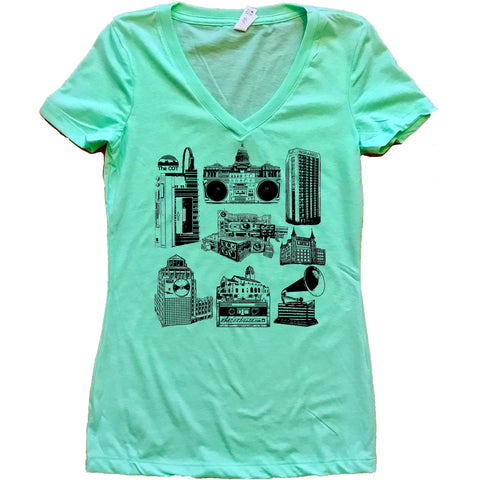 Boise Music Scene Idaho Women's V-Neck Shirt