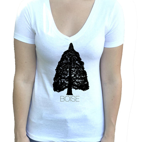 Boise Idaho Sequoia Women's V-Neck Shirt