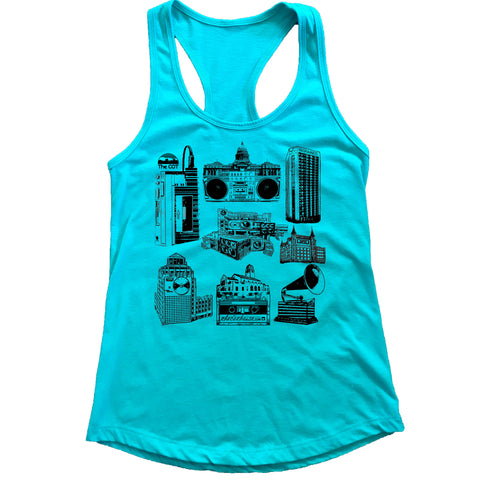 Boise Music Scene Idaho Women's Racerback Tank Top