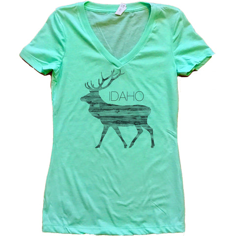 Ingrained Elk Idaho Women's V-Neck Shirt