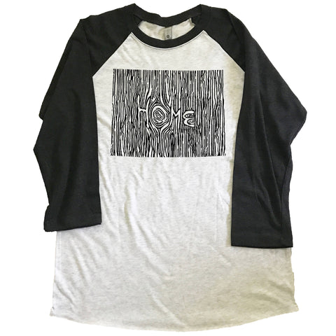 Wyoming Ingrained State Unisex Triblend Raglan Baseball T-shirt