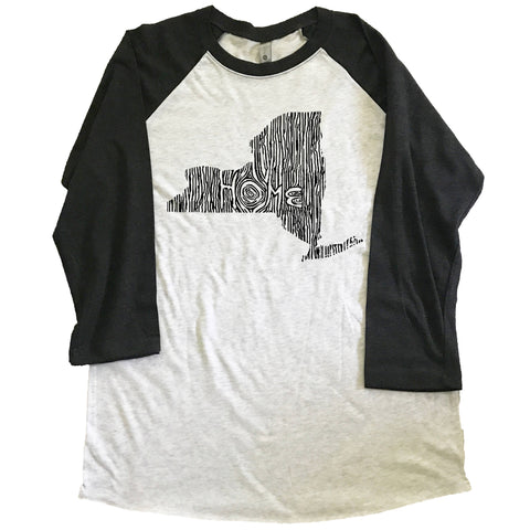 New York Ingrained State Unisex Triblend Raglan Baseball T-shirt