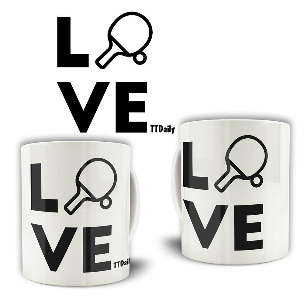 Table Tennis Mug Love Blade Ping Pong Player Bat & Ball Coffee Tea