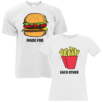 Novelty T-Shirts Couples Pack Made For Eachother Burger & Fries