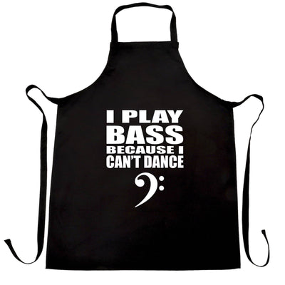 Novelty Music Chef's Apron I Play Bass Because Can't Dance