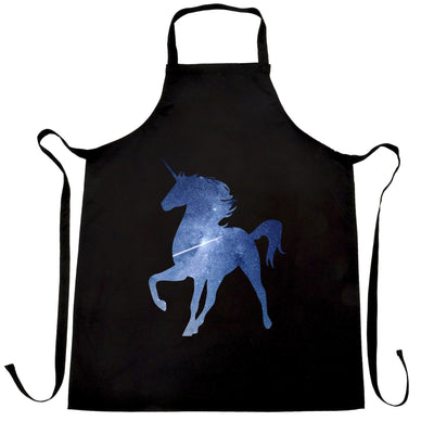 Mythical Space Chef's Apron Galaxy Unicorn Silhouette