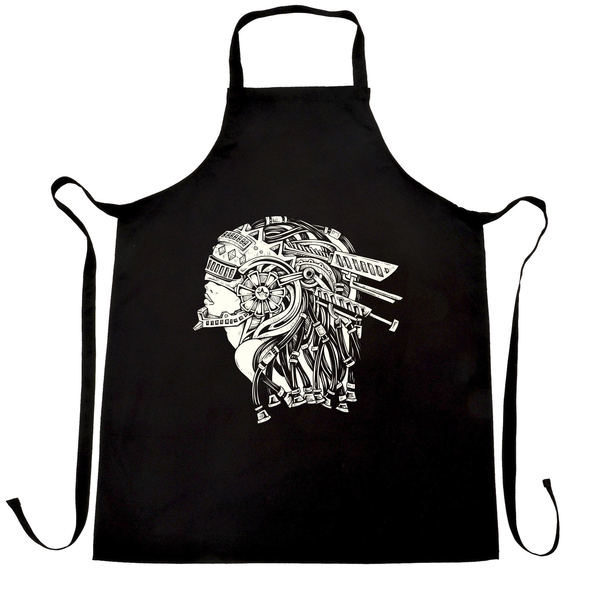 Sci-Fi Art Chef's Apron Futuristic Mechanical Woman
