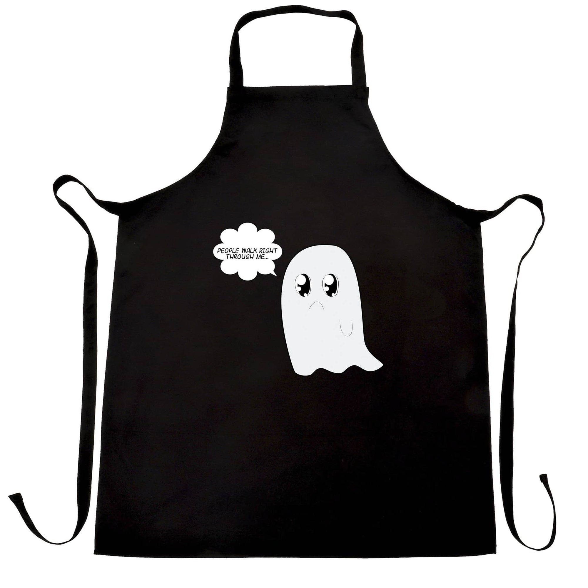 Cute Ghost Chefs Apron People Walk Right Through Me Joke