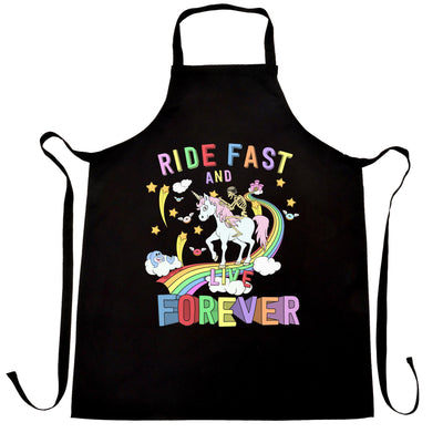 Unicorn Chef's Apron Ride Fast And Live Forever Skeleton