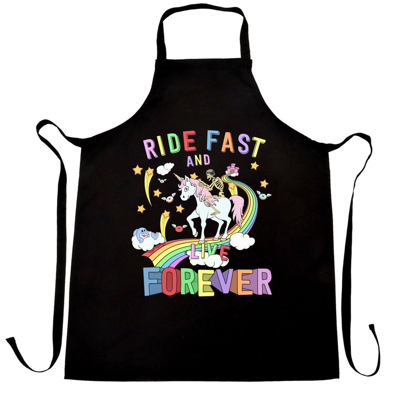 Unicorn Chefs Apron Ride Fast And Live Forever Skeleton
