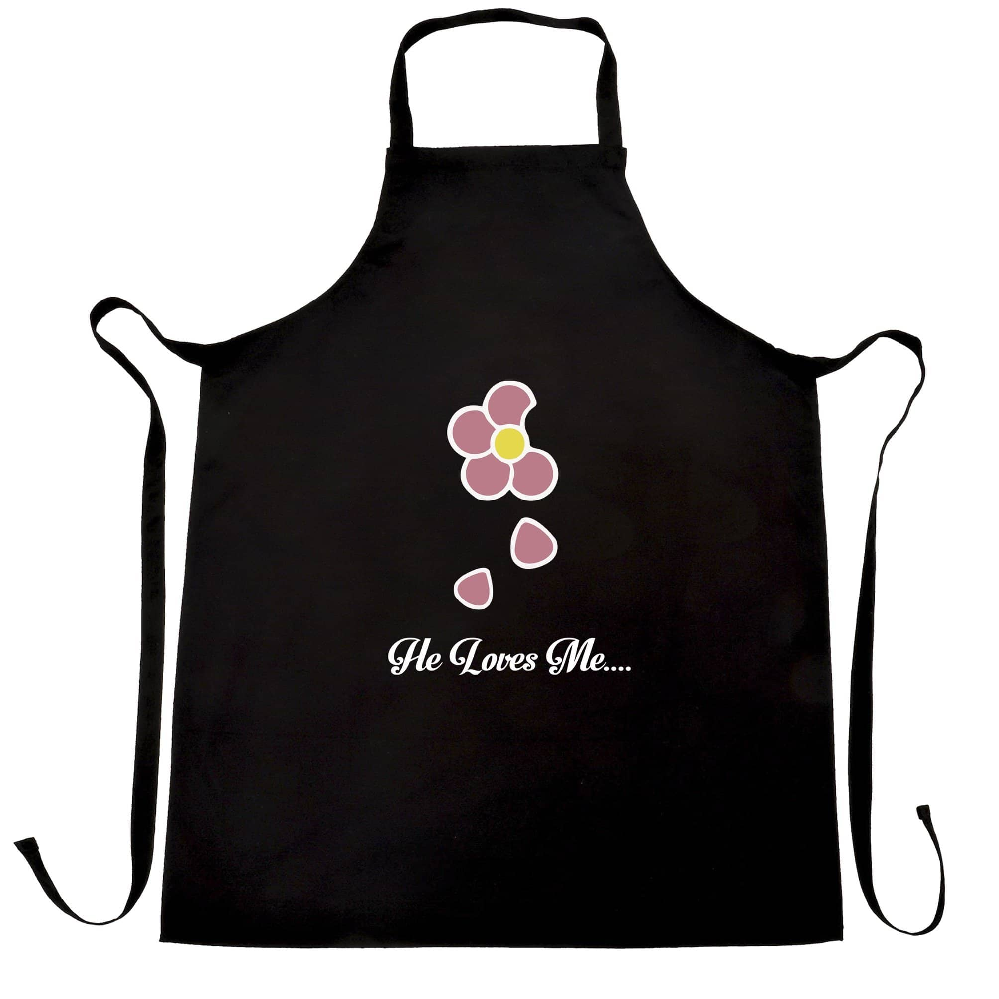 Cute Summer Chef's Apron He Loves Me... Flower Slogan