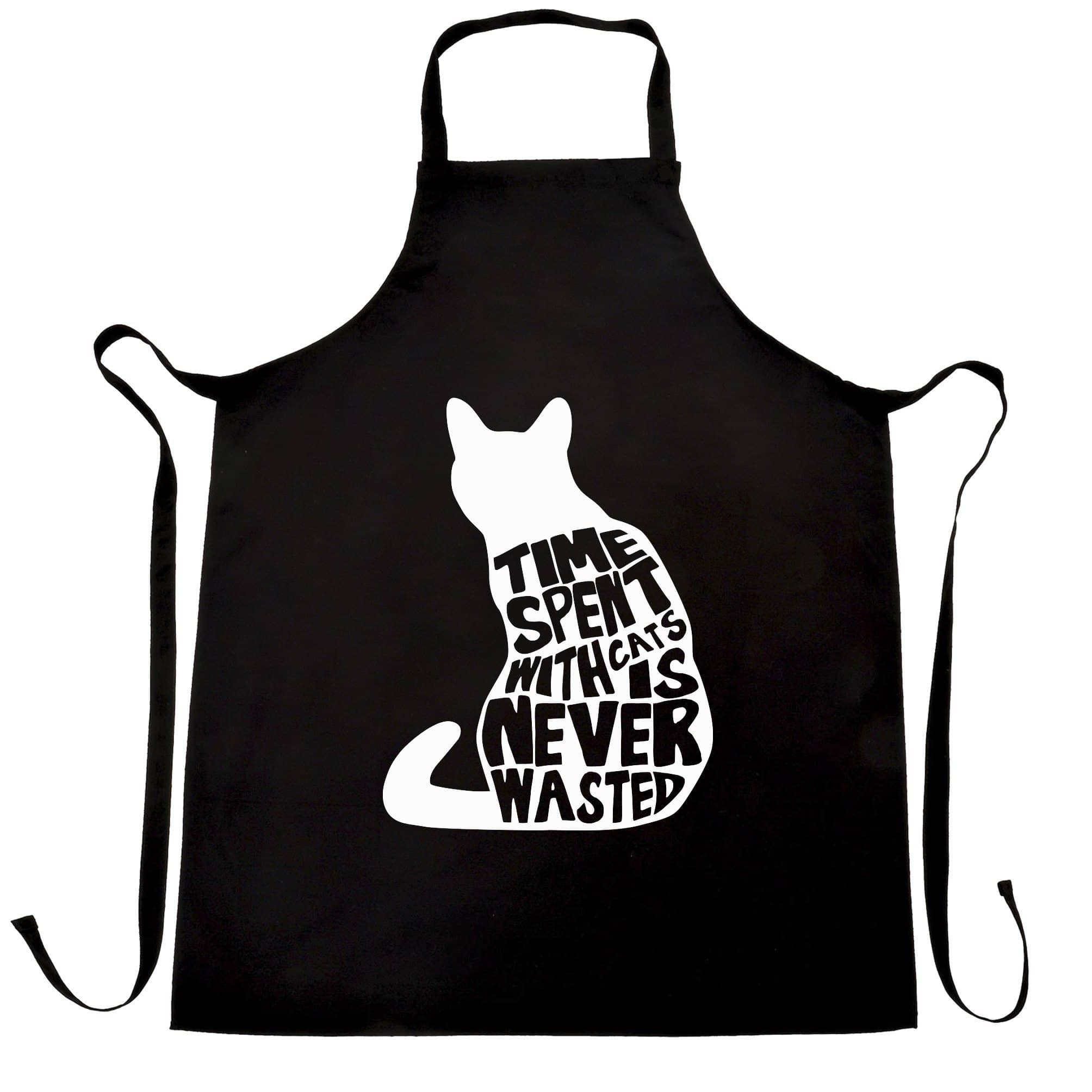Cat Lover Chef's Apron Time Spent With Cats is Never Wasted