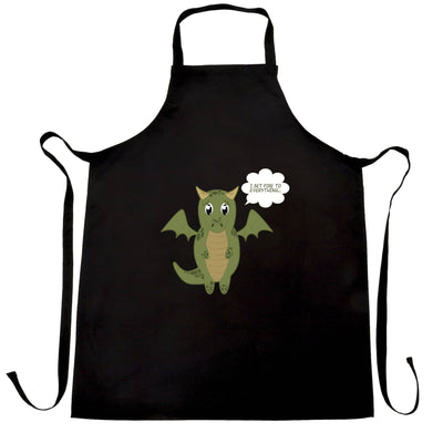 Cute Dragon Chef's Apron I Set Fire To Everything Joke