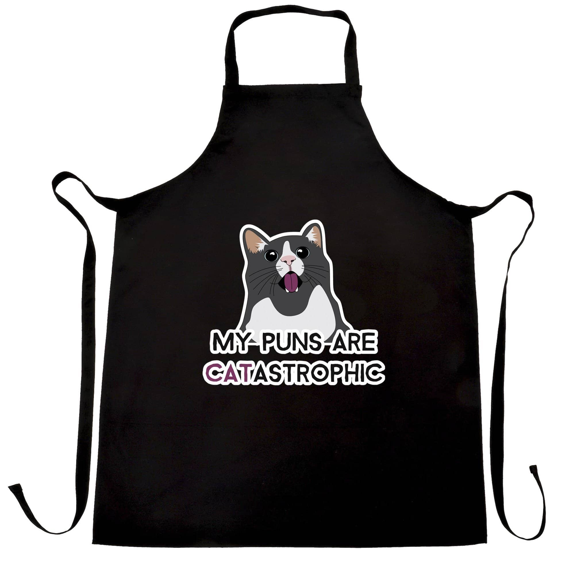 Novelty Cat Chef's Apron My Puns Are Catastrophic Joke