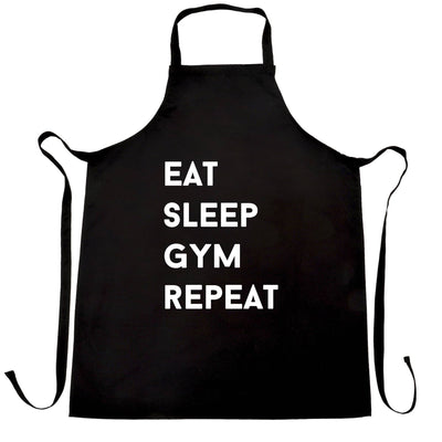 Novelty Chef's Apron Eat, Sleep, Gym, Repeat Slogan