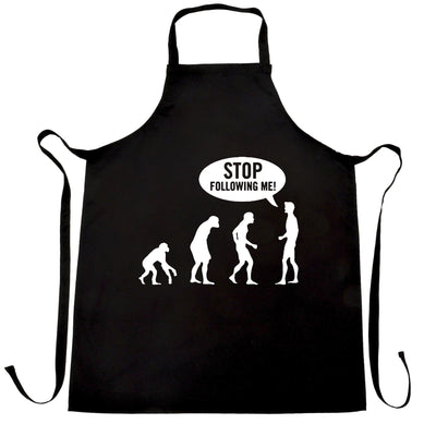 Stop Following Me Novelty Chef's Apron Evolution Parody