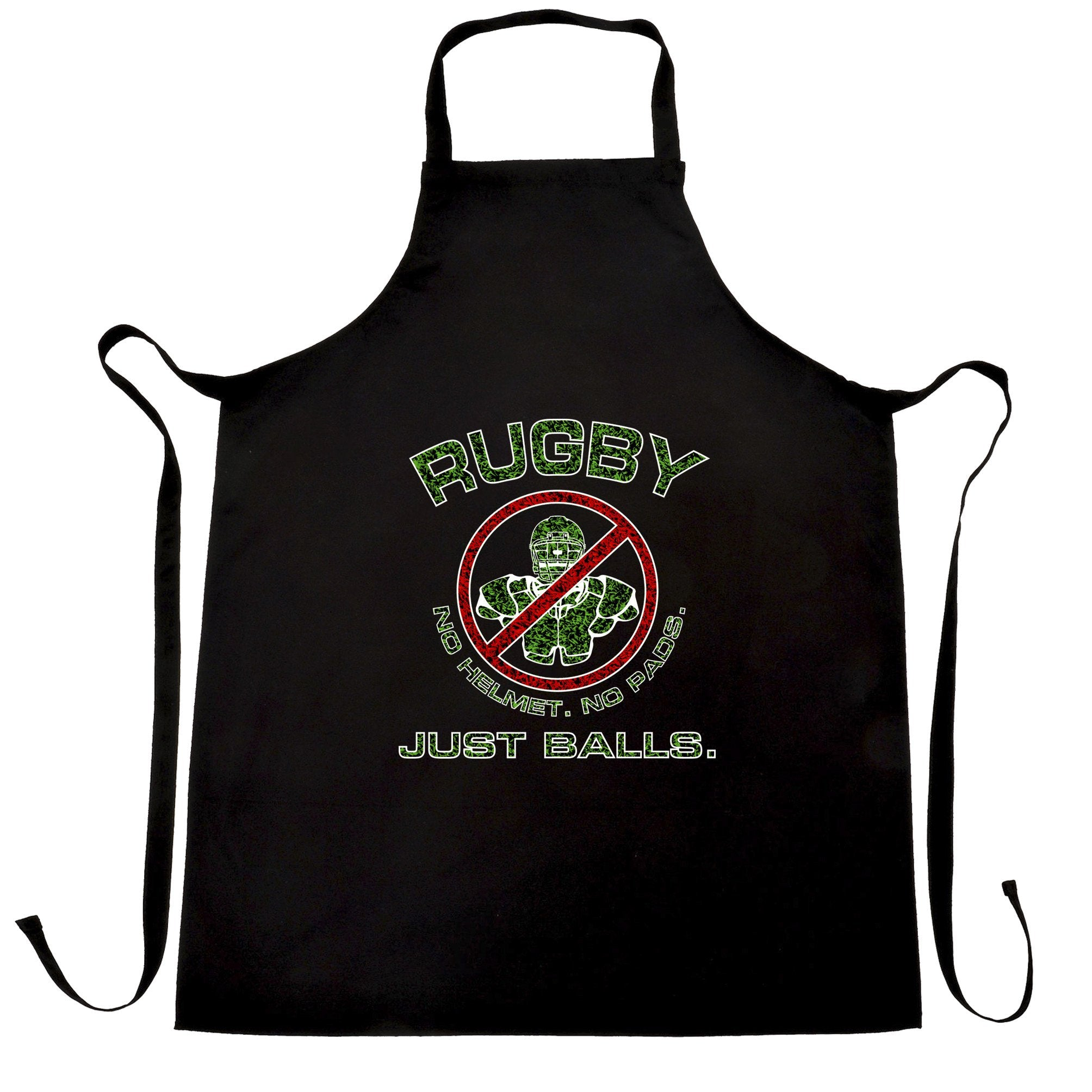 Novelty Rugby Chef's Apron No Helmet. No Pads. Just Balls.