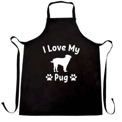 Dog Owner Chef's Apron I Love My Pug Slogan