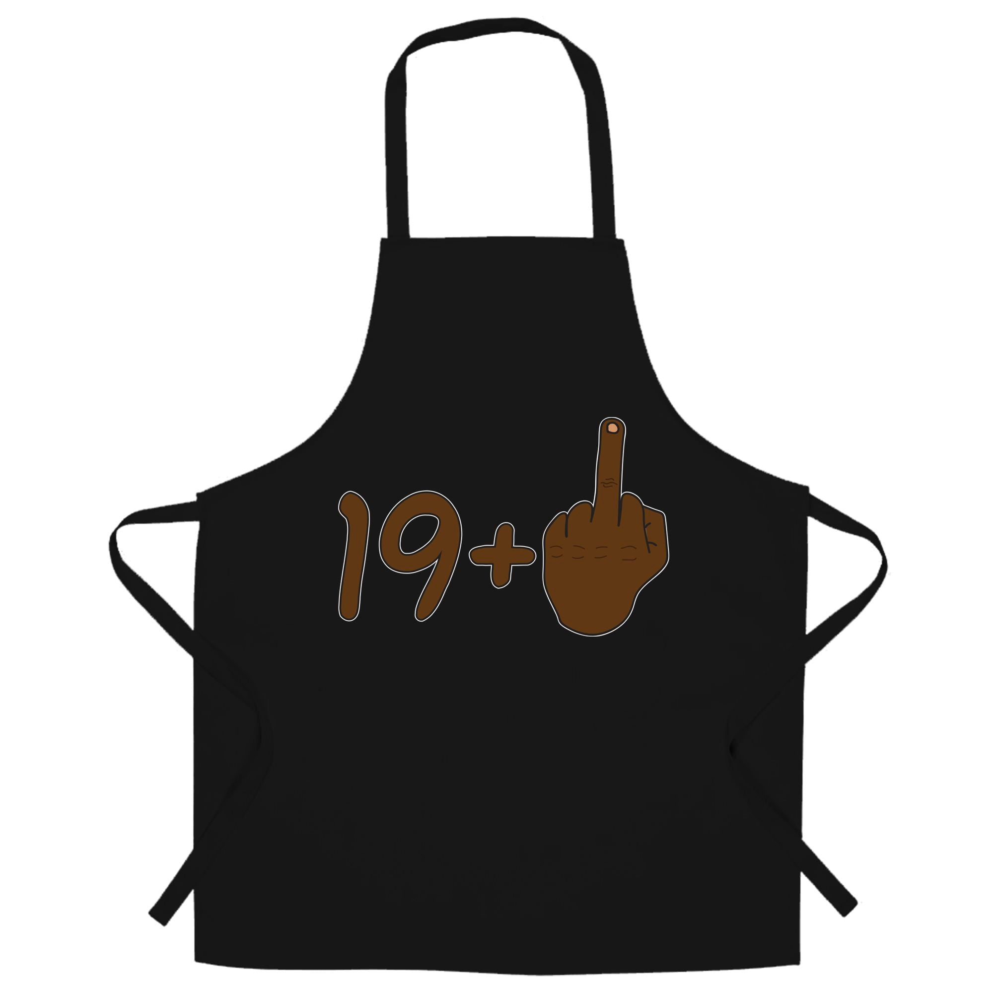 Rude 20th Birthday Chef's Apron Black Middle Finger