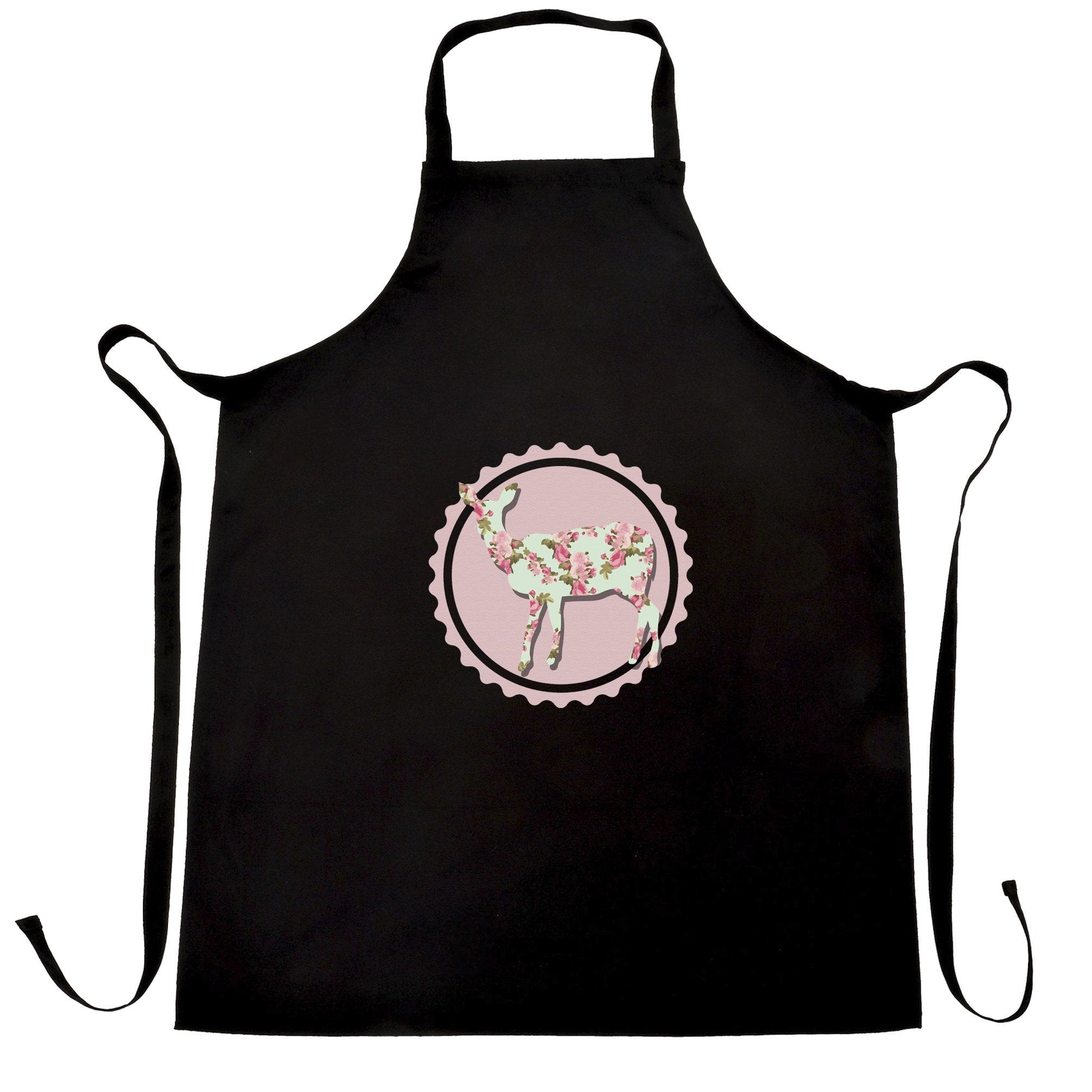 Vintage Logo Chef's Apron Floral Patterned Deer Badge