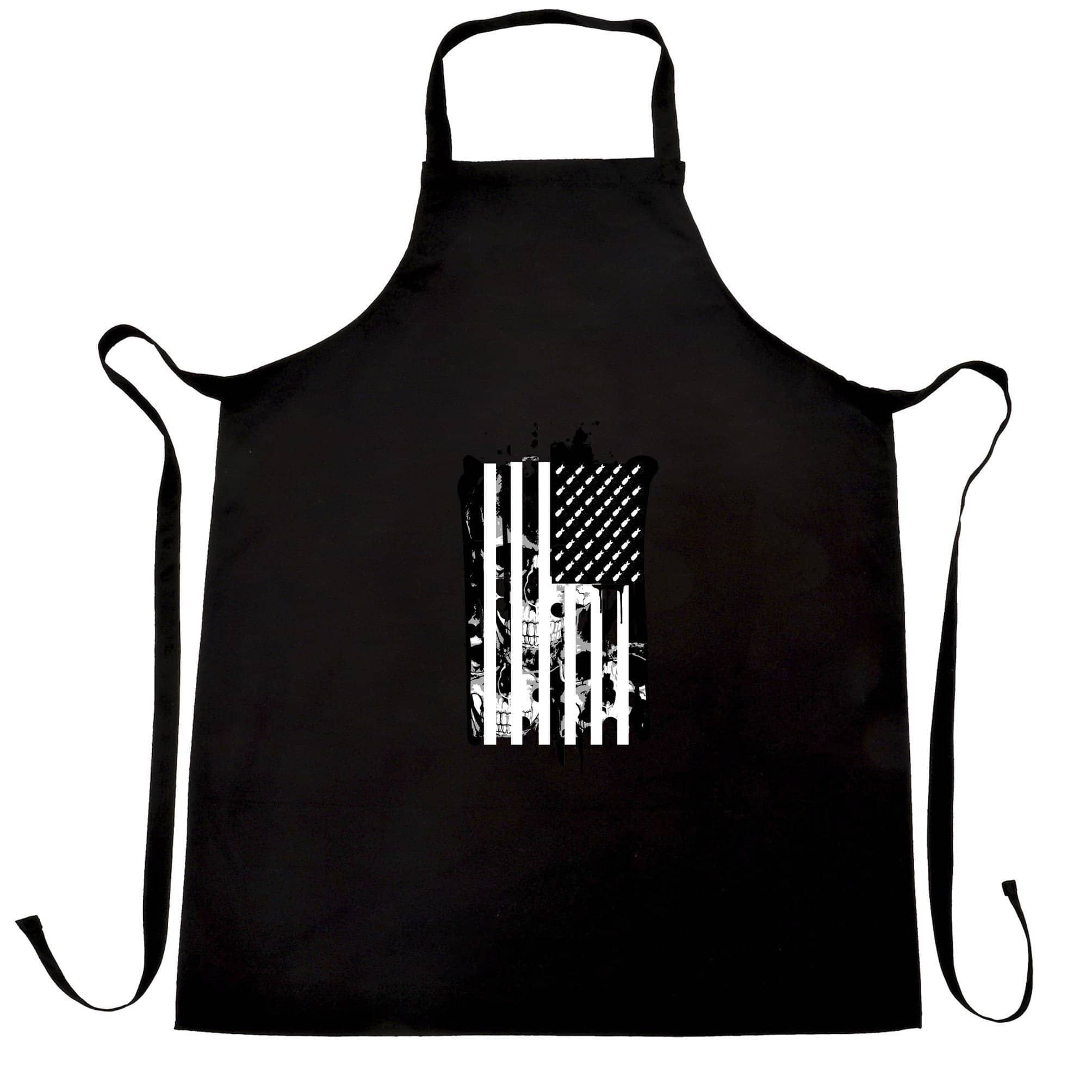American Flag Chef's Apron Stylised with Skulls and Bombs