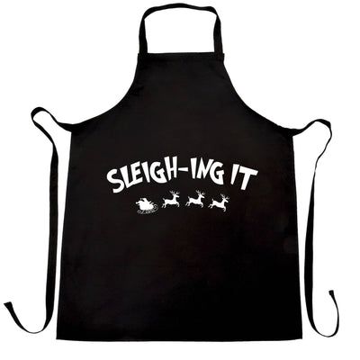Joke Christmas Chef's Apron Sleigh-ing Slaying It Pun