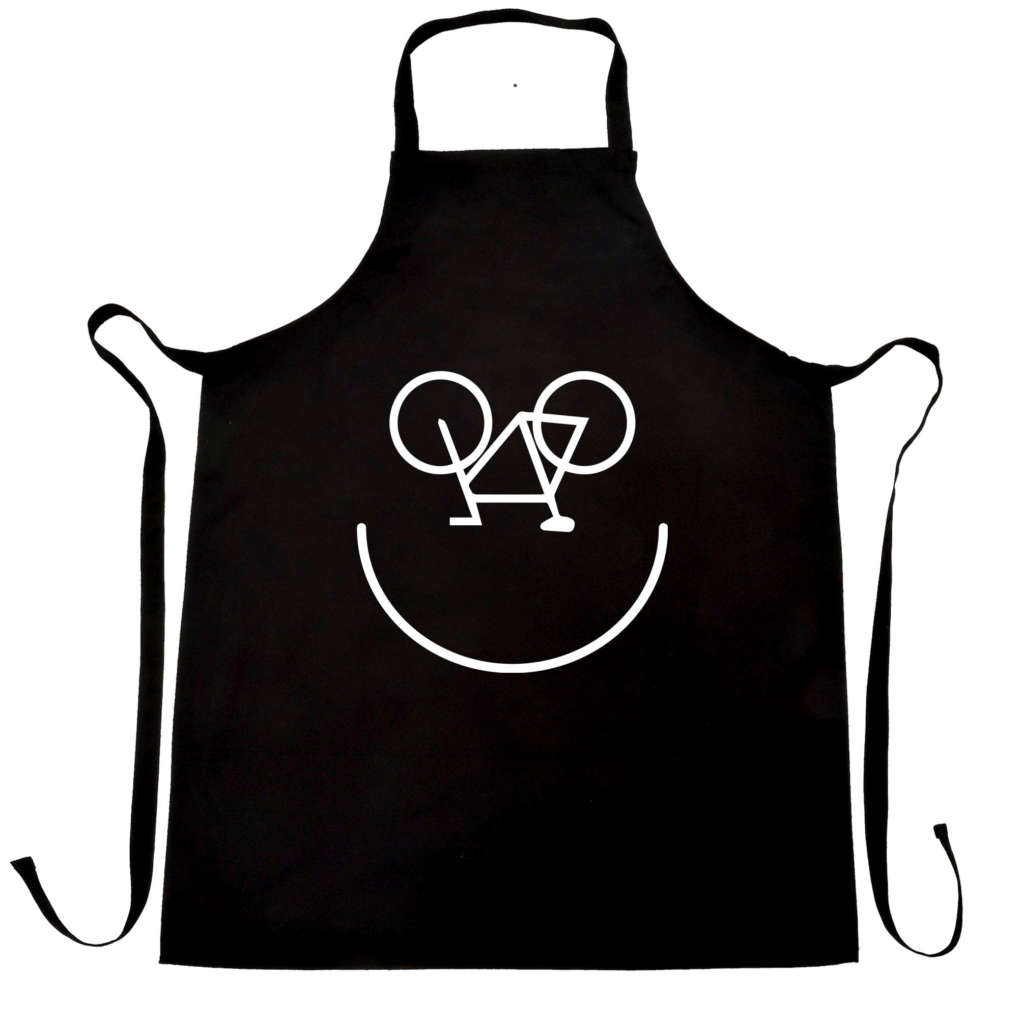 Cycling Chef's Apron Bicycle Happy Smiling Face Logo