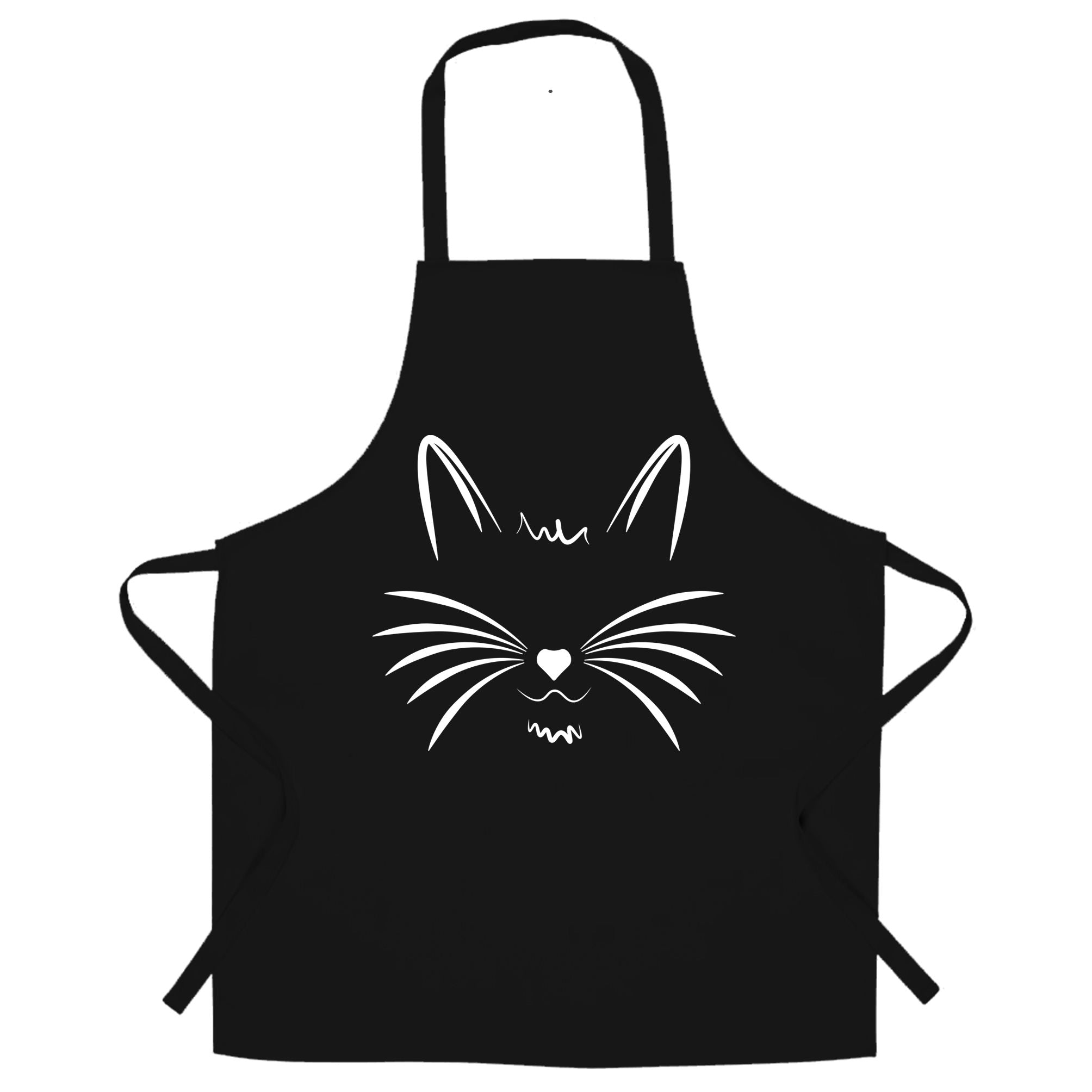 I Love Cats Chef's Apron Face with Heart Nose