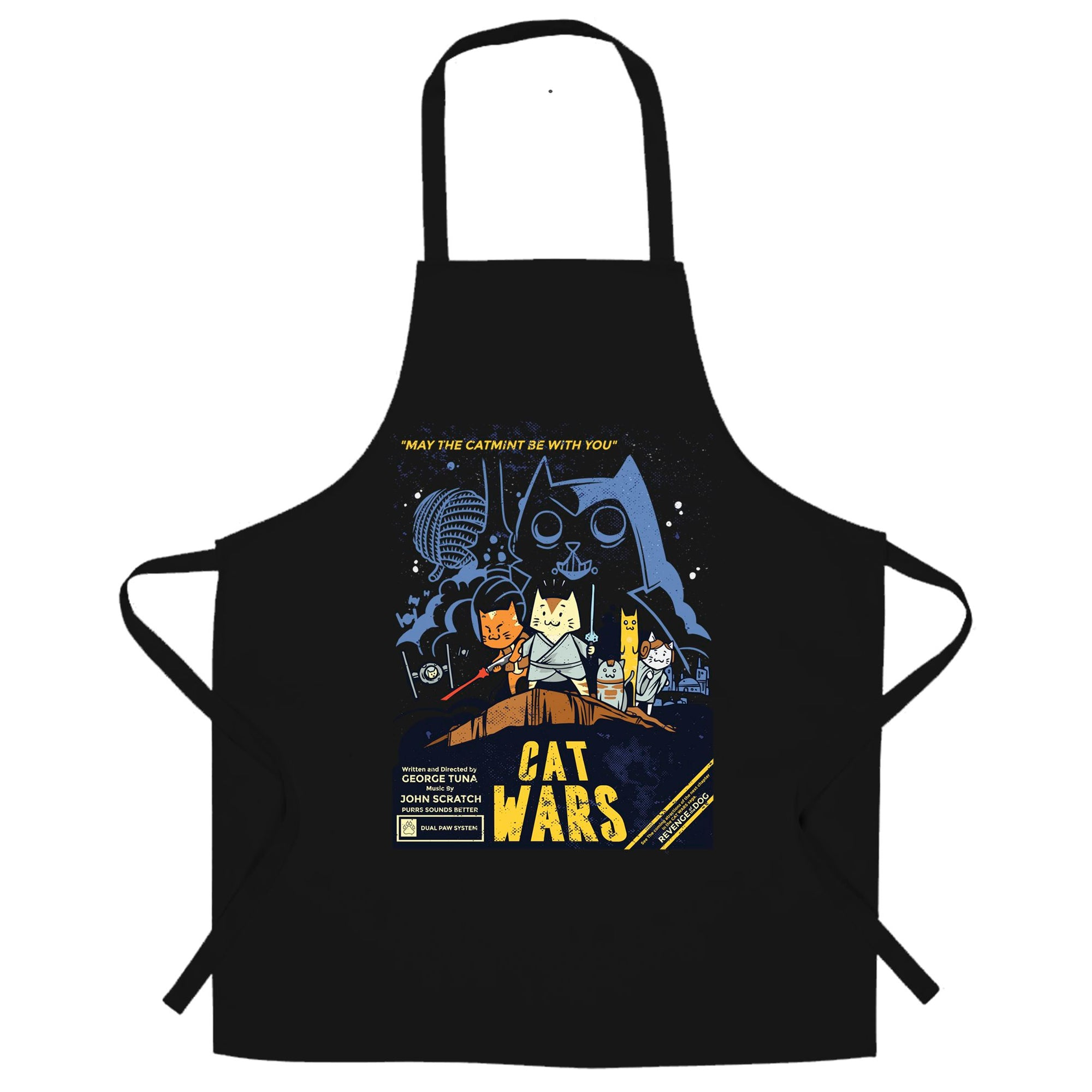 Cat Wars Chef's Apron Funny Star Parody