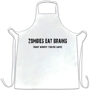 Halloween Chef's Apron Zombies Eat Brains, You're Safe