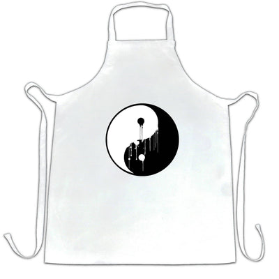 Art Chef's Apron Painted Dripping Ying Yang Balance Symbol