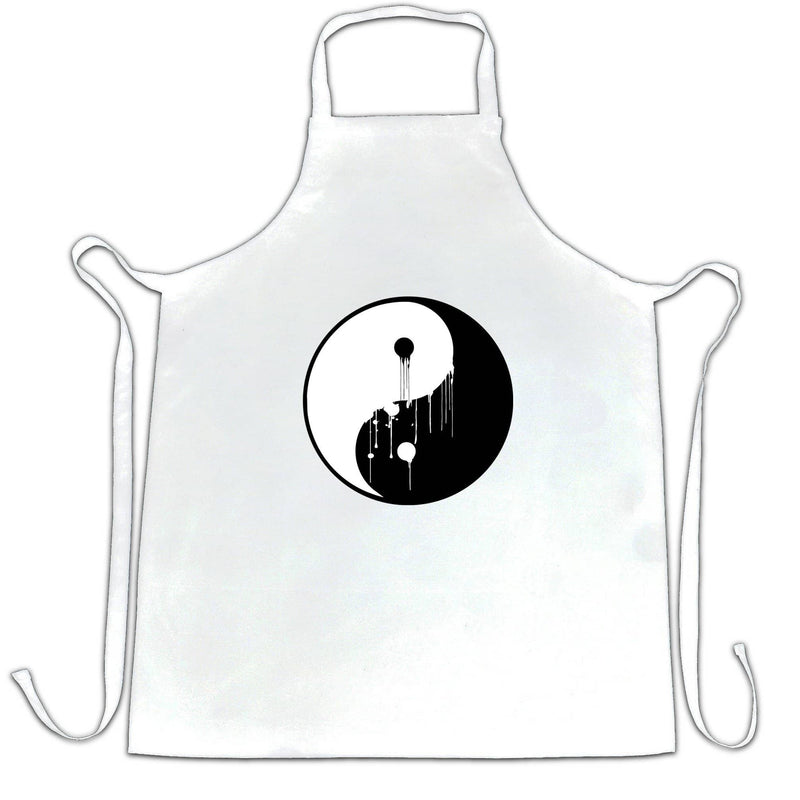 Art Chefs Apron Painted Dripping Ying Yang Balance Symbol