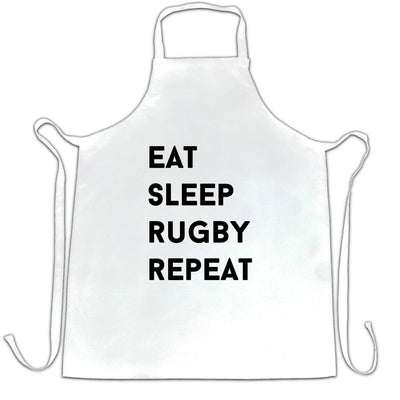 Novelty Chef's Apron Eat, Sleep, Rugby, Repeat Slogan
