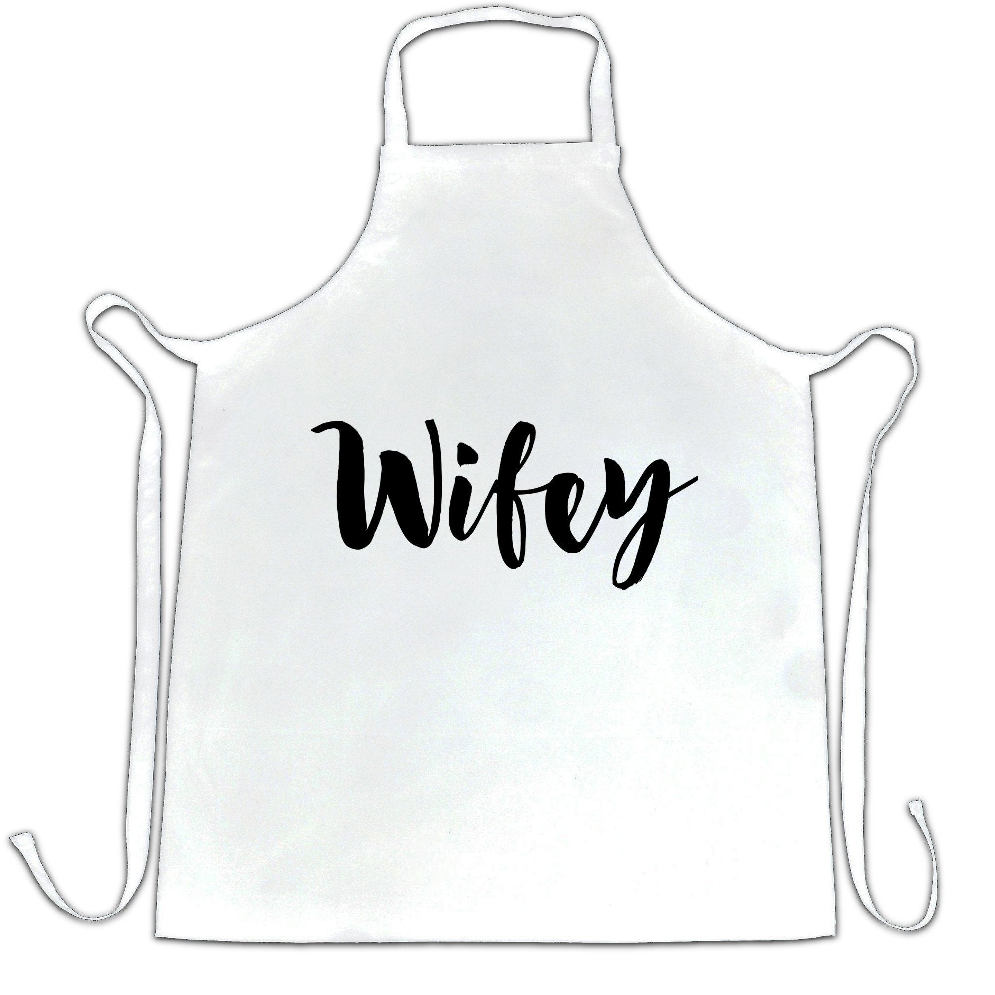 Novelty Couples Chef's Apron Wifey Unmarried Slogan
