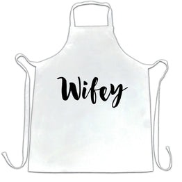 Novelty Couples Chefs Apron Wifey Unmarried Slogan