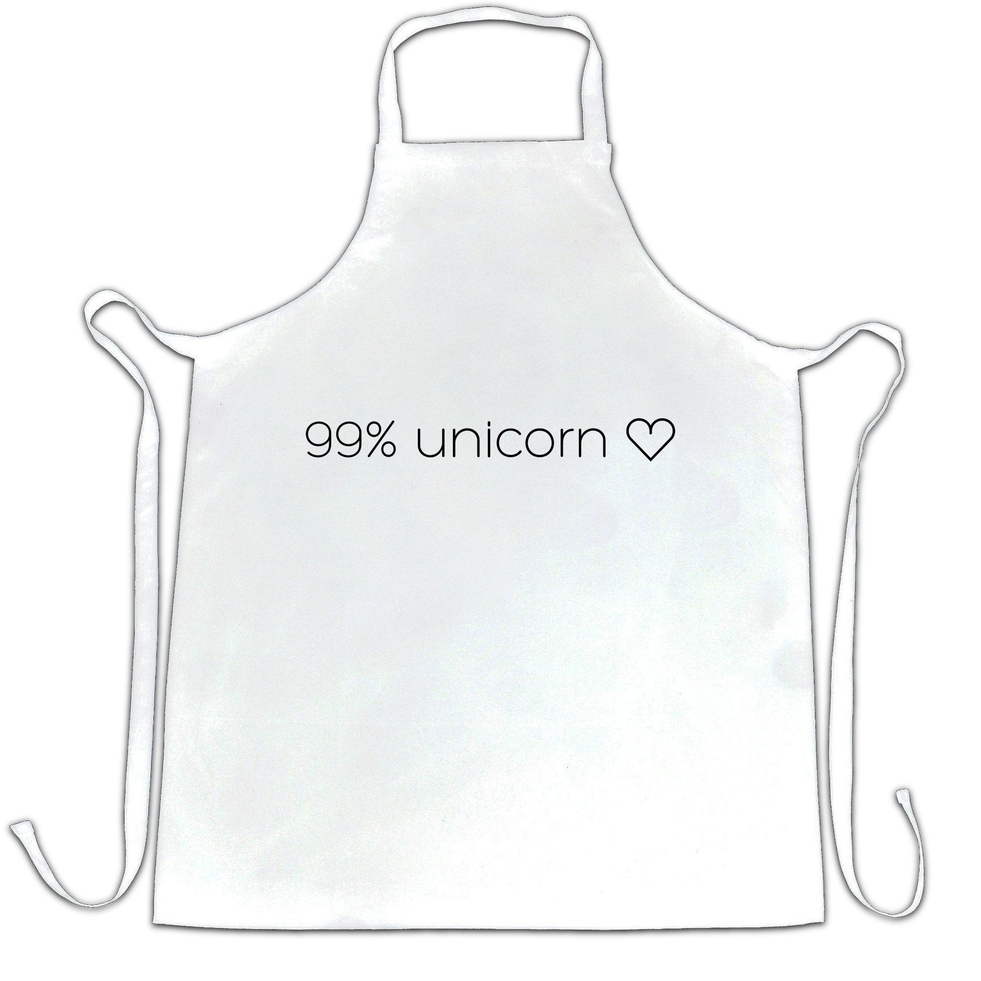 Novelty Mythical Chef's Apron 99% Unicorn Heart Slogan