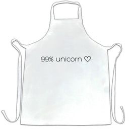 Novelty Mythical Chefs Apron 99% Unicorn Heart Slogan