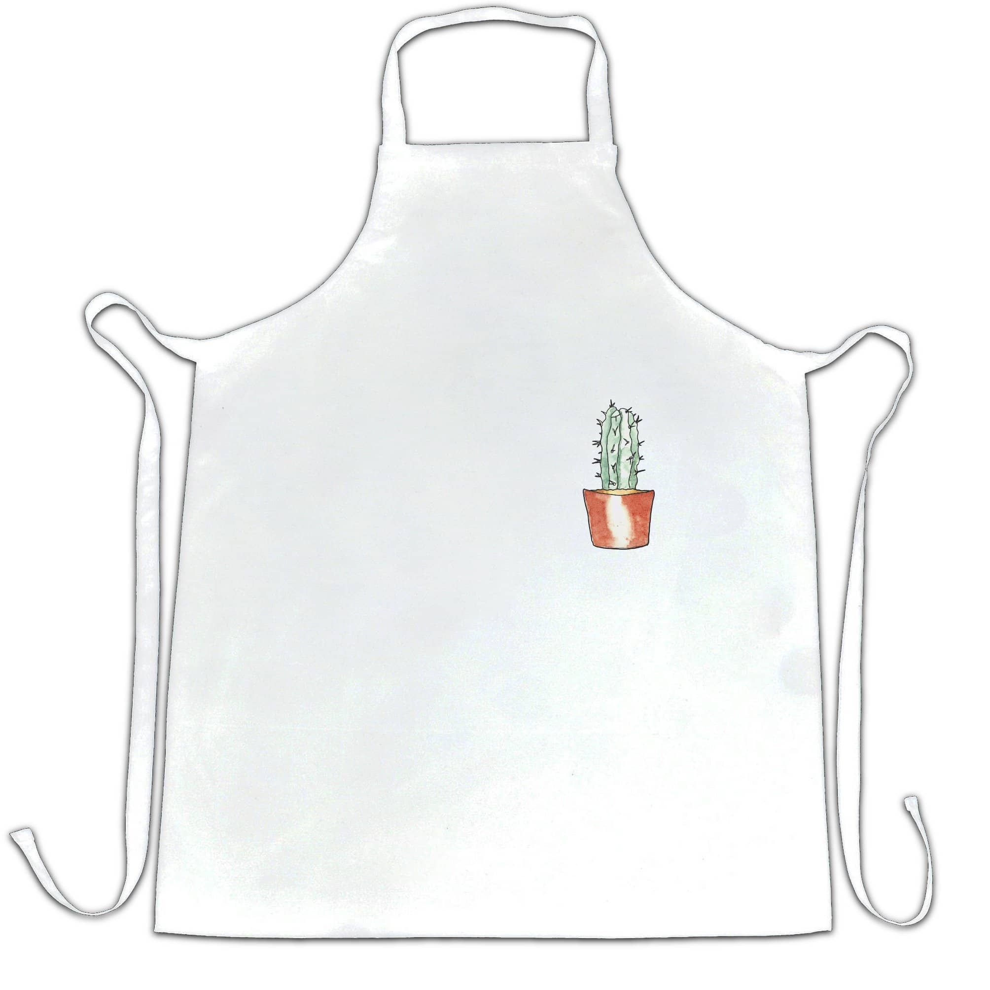 Cute Plant Chef's Apron Drawn Cactus Art Pocket Print