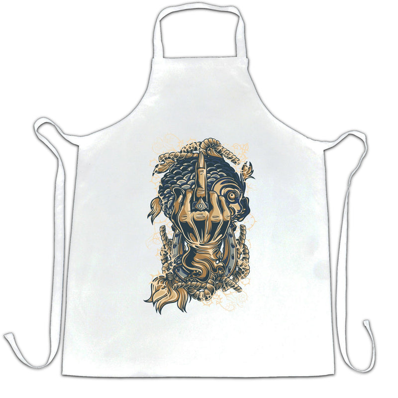 Skeleton Swearing Illustration Cool Alternative Biker Gothic Rude Apron